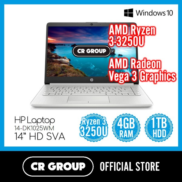 [Same Day Delivery] HP Laptop 14-DK1025WM 14 Inch HD | AMD Ryzen 3-3250U | 4GB DDR4 RAM | 1TB SATA HDD | AMD Radeon Vega 3 Graphics