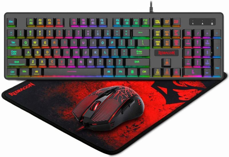 Redragon S107 Gaming Keyboard and Mouse Combo Large Mouse Pad Mechanical Feel RGB Backlit 3200 DPI Mouse for Windows PC (Keyboard Mouse Mousepad Set) Singapore