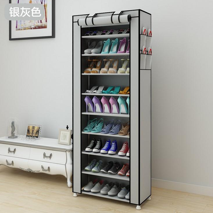 9 Tier Shoe Shelves Canvas Fabric Shoe Rack Storage Cabinet Rail Shoe Organizer