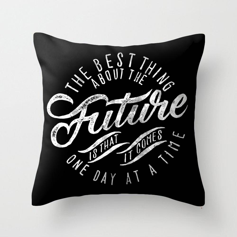 Black And White Vintage American English Lettered Sofa Living Room Cafe INS Wind Square Pillow throw pillow Pillow Case