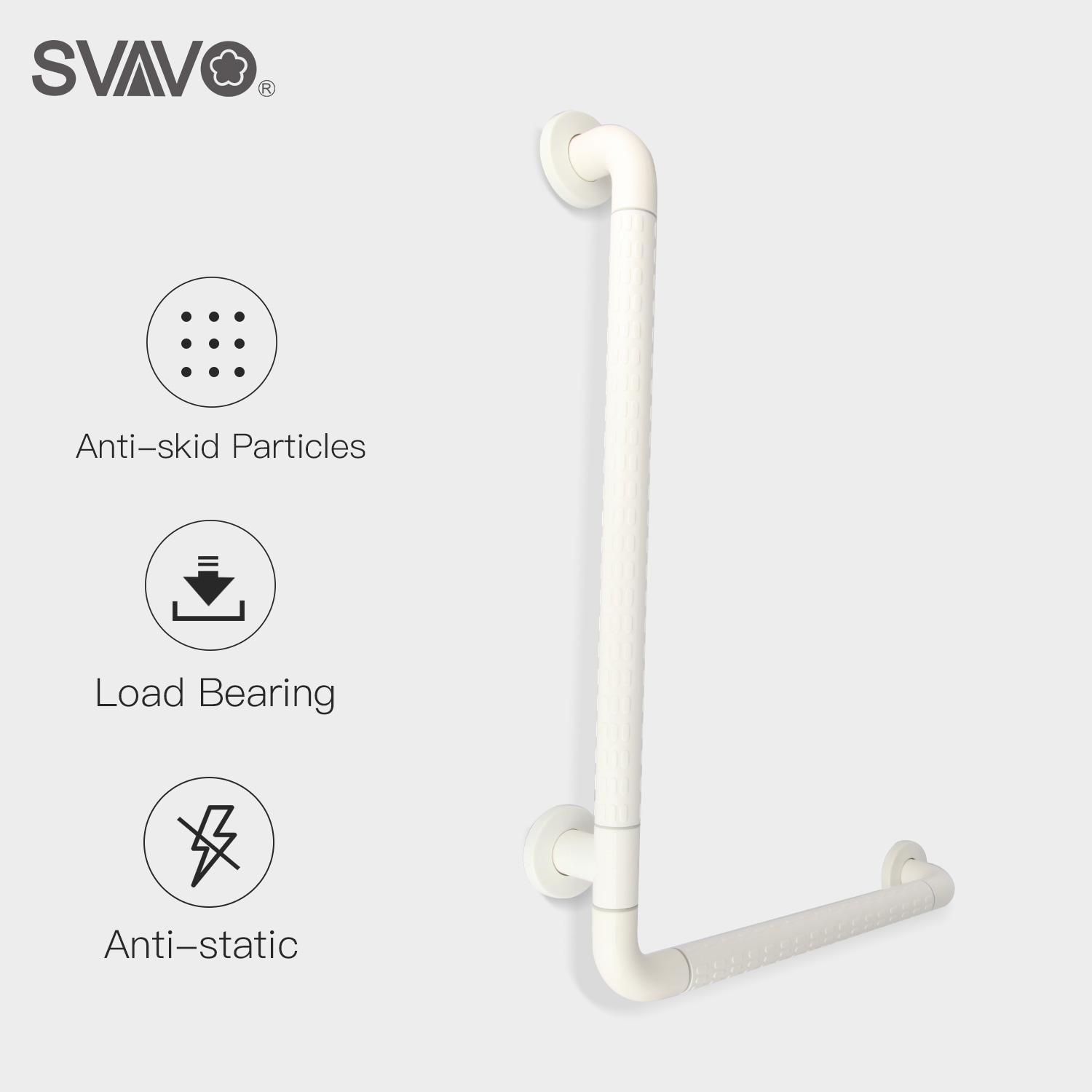 Svavo 600mm/700mm Length Wall Mounted Bath Shower Grab Bar Bathroom Safety Rail Anti-Slip Grip With Concealed L Shaped Safety Assist Grab Bar By Svavo.