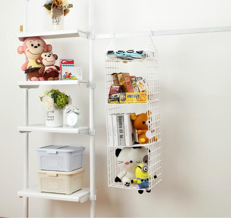 Wardrobe storage rack cabinet storage rack without holes home clothes clothing storage cabinet multi-layer adjustable-intl