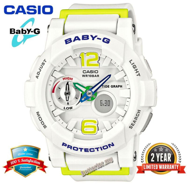 Original Casio Baby G BGA180 Women Sport Watch Dual Time Display 100M Water Resistant Shockproof and Waterproof World Time LED Light Girl Sports Wrist Watches with 2 Year Warranty BGA-180-7B2 White Green (Ready Stock) Malaysia