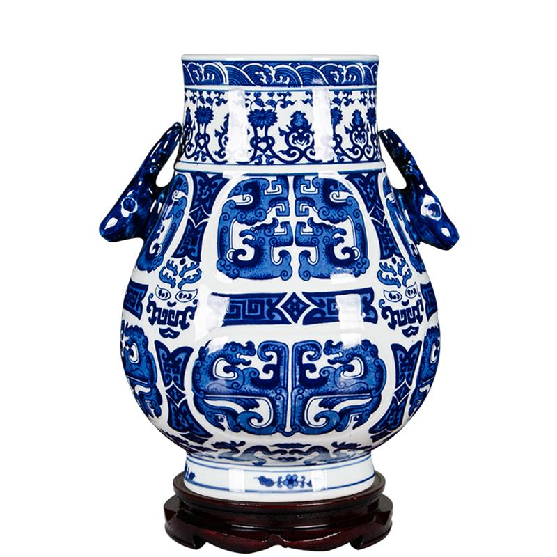 Jingdezhen Ceramic Works Vase Flower Arrangement Blue And White Porcelain New Chinese Style Classical 58 Living Room Antique Shelf Decorations Decoration