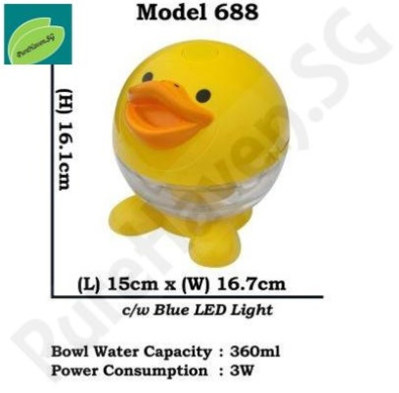 [BNIB] GOOD FOR CAR! Model 688/689 Mini Water Air Purifier! With Blue LED Lights. 360ml! Animals Design Singapore