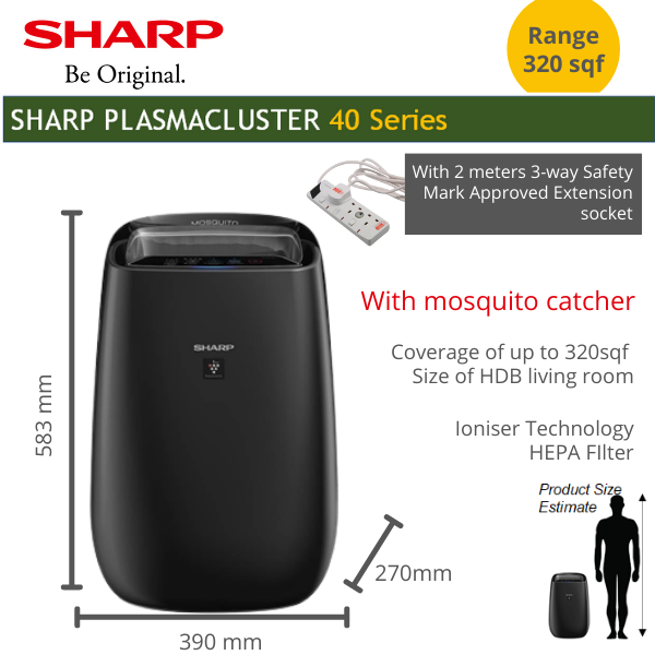 SHARP Air Purifier and ioniser with Mosquito catcher effective coverage 30sqm or 322 sqf for living room Singapore