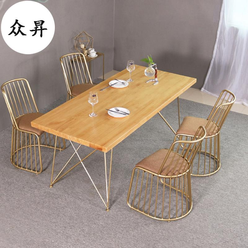 Simple Iron Art Solid Wood Dining Tables And Chairs Set Home Living Room Rectangular Tables And Chairs to Discuss the Milk Tea Shop Customizable Table