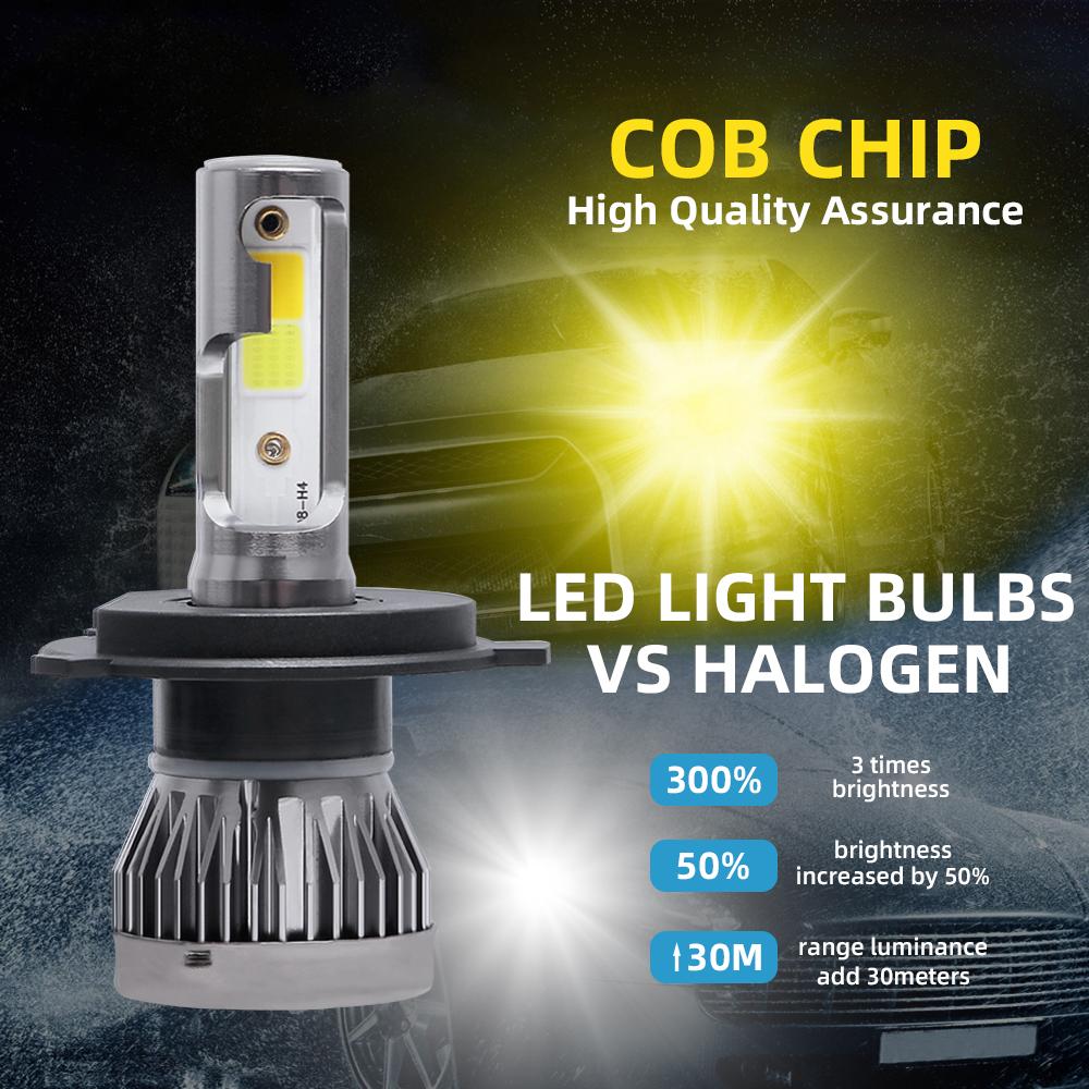 [Tự Động Cánh] 2 Chiếc Đèn Pha LED Cho Xe Hơi H4 9003 HB2 120W 26000LM Động Cơ Cắm Và Chạy Chất Lượng Cao Bộ Chuyển Đổi Phụ Kiện Bóng Đèn Turbo Tia Hi/Lo Đôi 6000K Trắng + 3000K Ánh Sáng Vàng
