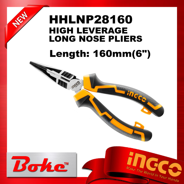 [Ready stock] INGCO HHLNP28160 HIGH LEVERAGE LONG NOSE PLIERS