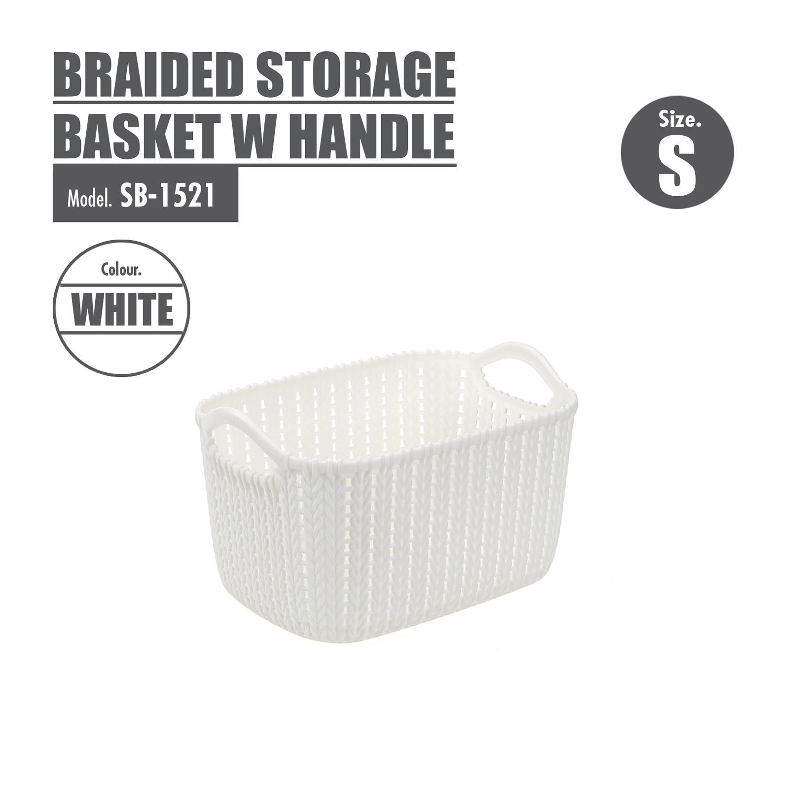 Houze Braided Storage Basket With Handle - Small - White - SB-1521-WHITE