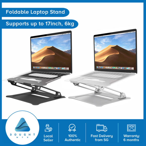 Foldable Laptop Stand Portable Adjustable Holder Height 10-17 Inch Universal Laptops 20kg Support Silver Black