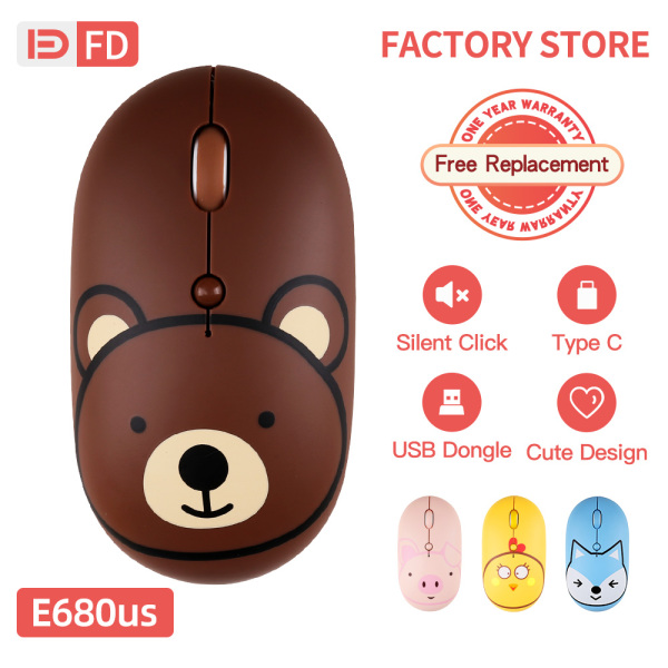 【Typc C】FD E690US Silent Wirelss Mouse Adjustable DPI 2.4GHz Connection Micro USB Typc C Interface Rechargeable For Computer Laptop Desktop PC Notebook