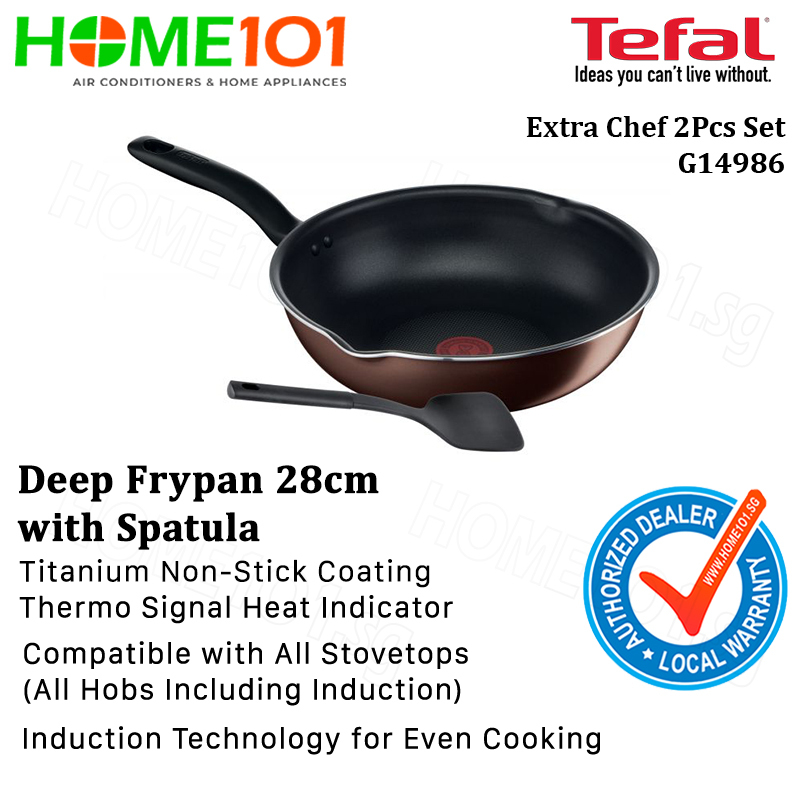 Tefal Extra Chef 2Pcs Set (Deep Frypan 28cm + Spatula) G14986 Singapore