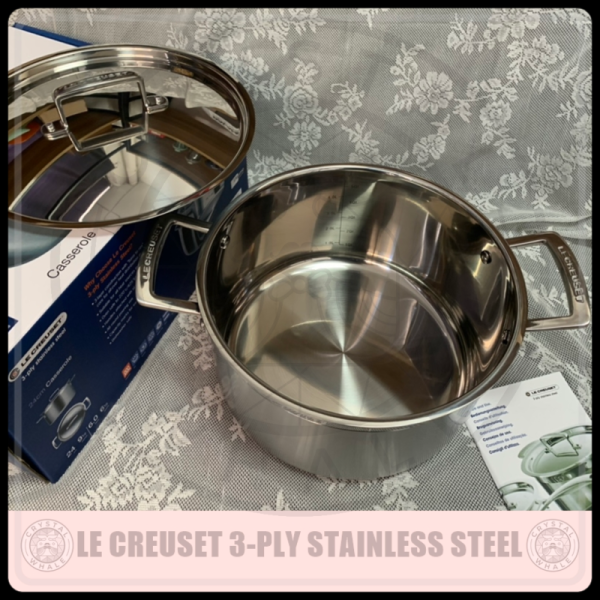 Le Creuset 3-ply Stainless Steel Deep Casserole With Lid (24 cm) Singapore