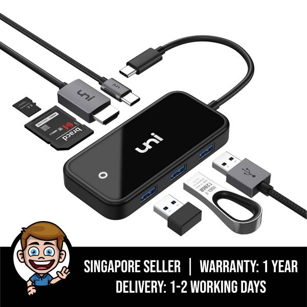 USB-C Hub 7 in 1, uni Type-C Multiport Adapter with Enhanced Shielding, with 4K HDMI, 3xUSB 3.0, PD 3.0 and More, Compatible for iPad Pro 2018, MacBook Pro, Surface Pro 7, Chromebook and More - Black