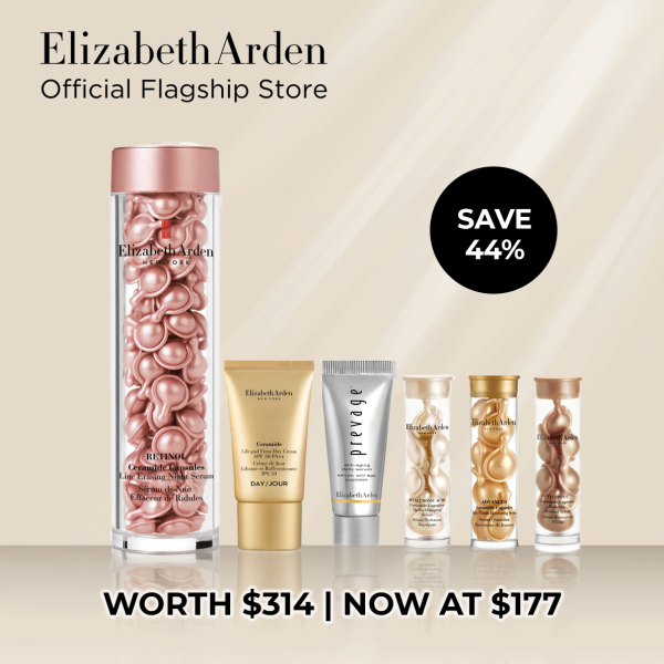 Buy Elizabeth Arden Retinol Ceramide Line Erasing Night Serum Value Set (worth $314): Retinol 90 capsules, Prevage Daily Serum 5ml, Ceramide Day Cream 15ml, Vitamin C 7 capsules, Hyaluronic Acid 7 capsules, Advanced Ceramide 7 capsules Singapore