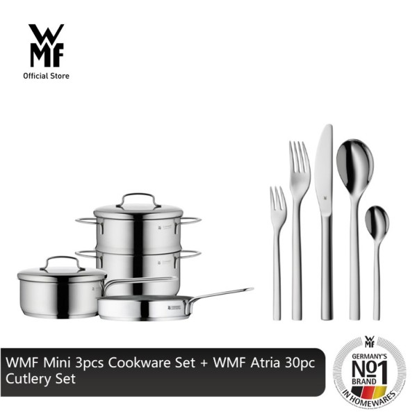 WMF Mini 3pcs Cookware Set 0798546040 + WMF Atria 30pc Cutlery Set 1276916040 Singapore