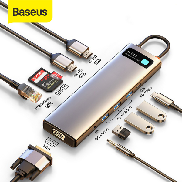 【NEW】Baseus USB C HUB to HDMI-compatible VGA USB 3.0 Adapter 9/11 in 1 USB Type C HUB Dock for MacBook Pro Air PD RJ45 SD Card Reader