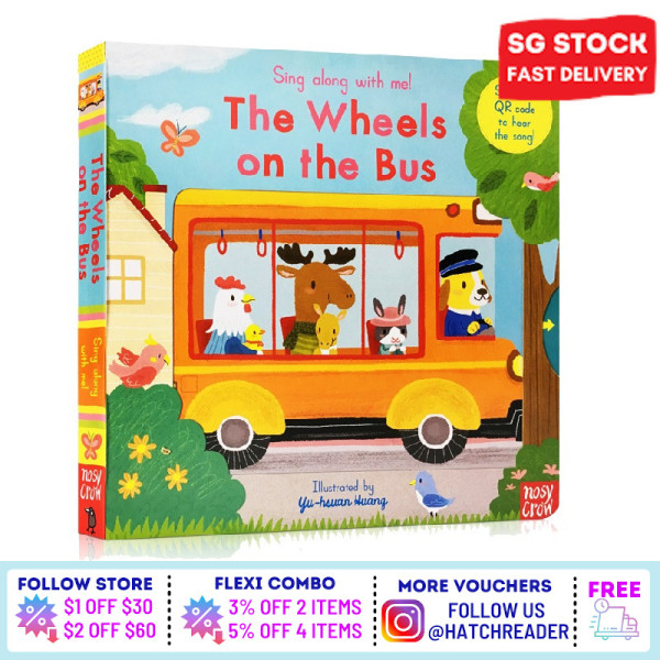 [SG Stock] Sing Along With Me! The Wheels on the Bus INTERACTIVE english story book Song for children child kids baby 0 1 2 3 years old sensory play flash card picture