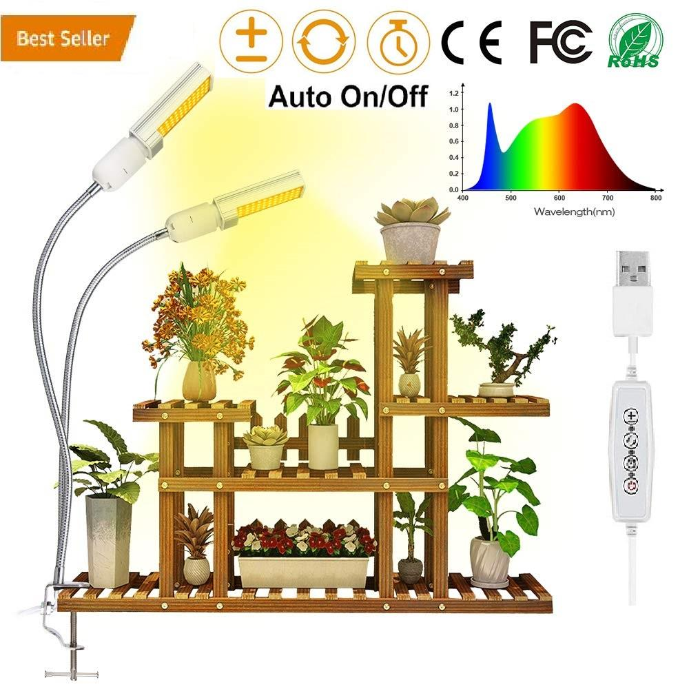 2019 Full Spectrum LED Artificial Sunlike Grow Light for Indoor Plant 45W, Dual Flexible Gooseneck Lamp Head with Replaceable Bulb, Brightness Control Switch with Auto ON OFF Memory Timer Function
