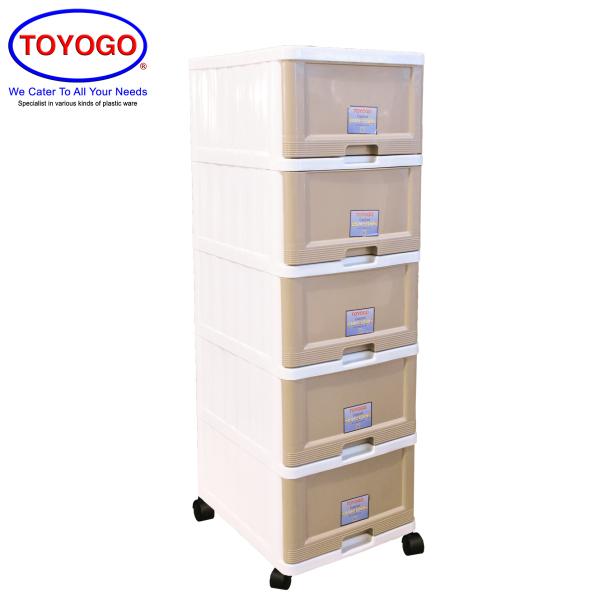 Toyogo Plastic Storage Cabinet / Drawer With Wheels (5 Tier) (707-5)