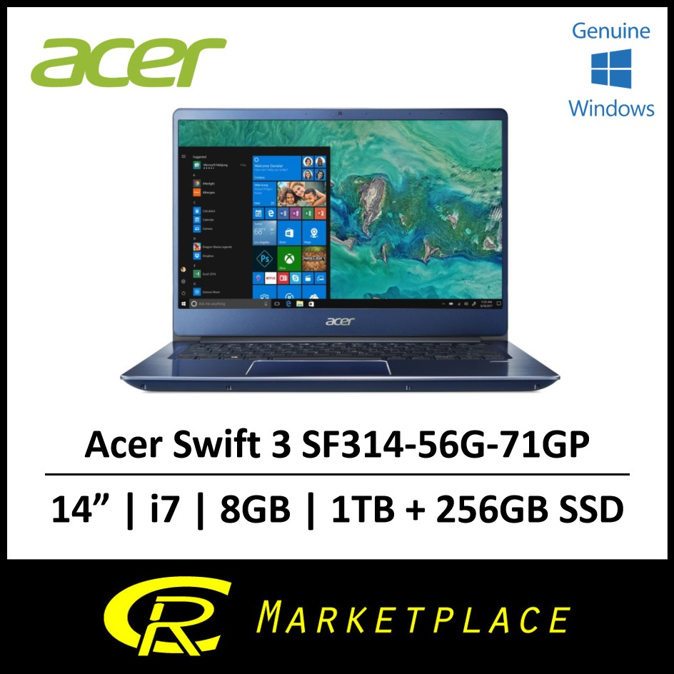 Acer Swift 3 SF314-56G-71GP Intel i7 8GB DDR4 RAM 1TB HDD + 256GB SSD