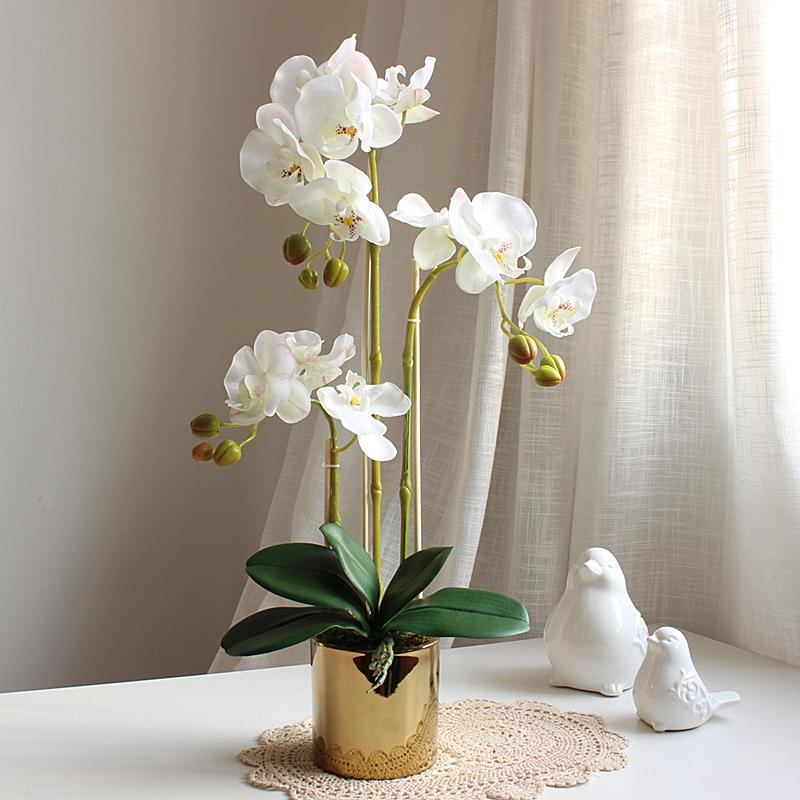 Handfeel Moisturizing Butterfly Orchid Imitation Flowers Set Potted Plant Living Room Decoration Artificial Flowers Asian Creative Luxury Art Works Decoration Flower Arrangement Silk Flower Northern Europe