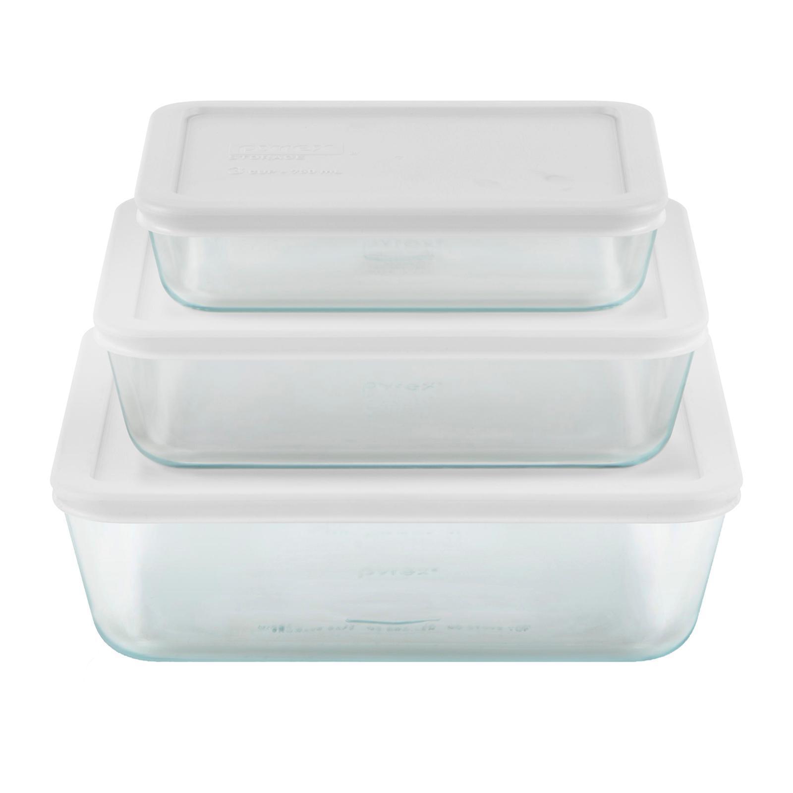 Pyrex 6 PCS Rectangle Glass Simply Store Set with White Lids (750 ML 1.4 L 2.6 L)