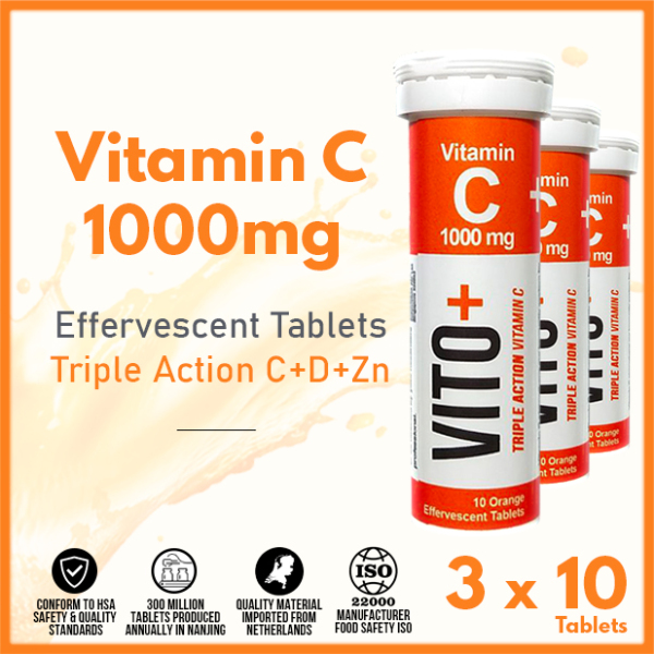 Buy VITO+ Vitamin C Effervescent Tablet Triple Action C+D+Zn 【Triple Pack 30s】- YDC Corporation Singapore