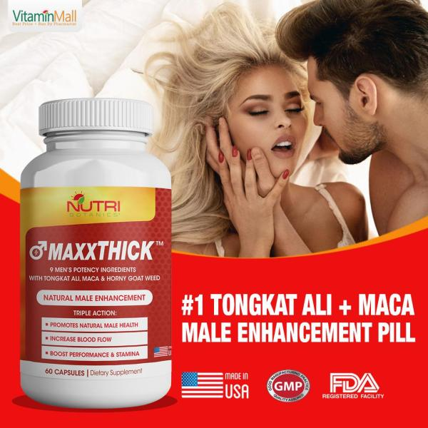 Buy MAXXTHICK Male Enhancement Pill for Men with Tongkat Ali, Maca & Horny Goat Weed - 60 Capsules - Male Enhancement Formula for Powerful Stamina, Strength, Energy, Sex Drive & Endurance - Best tongkat ali supplement Singapore