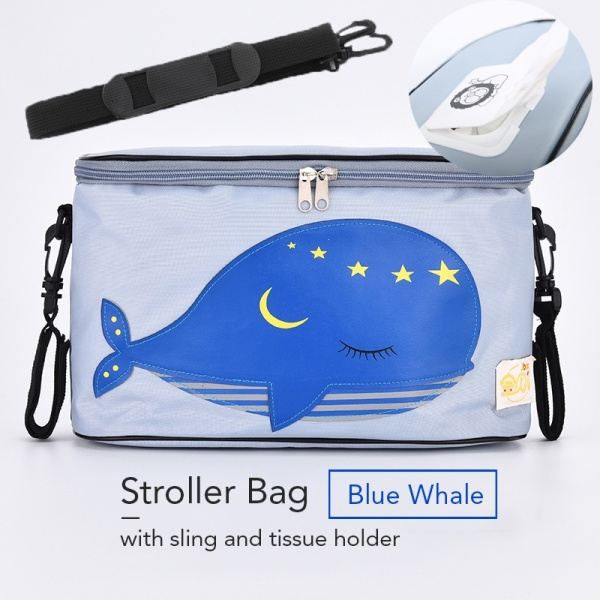 Stroller Bag with Sling and Tissue Holder (Blue Whale) - Storage Infants Baby Convenient Easy Usage Waterproof Case Pouch Singapore