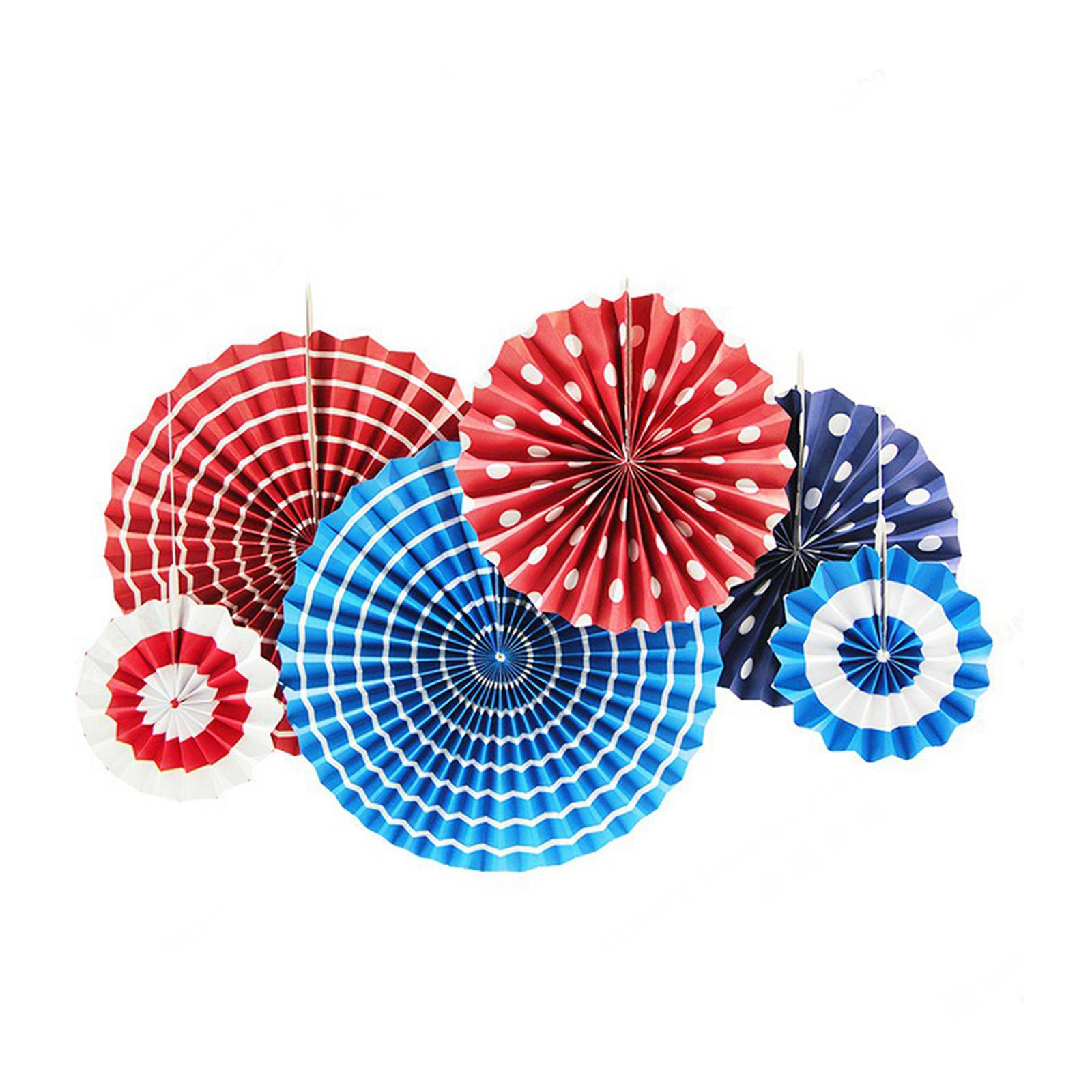 Misty Daydream Paper Fans Blue Red Set of 6 Backdrop Rosettes