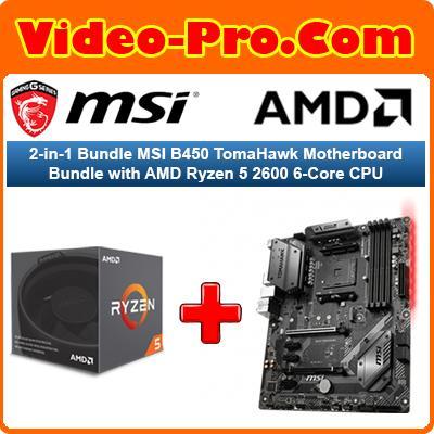2-in-1 Bundle MSI B450 TomaHawk Motherboard Bundle with AMD Ryzen 5 2600  6-Core CPU