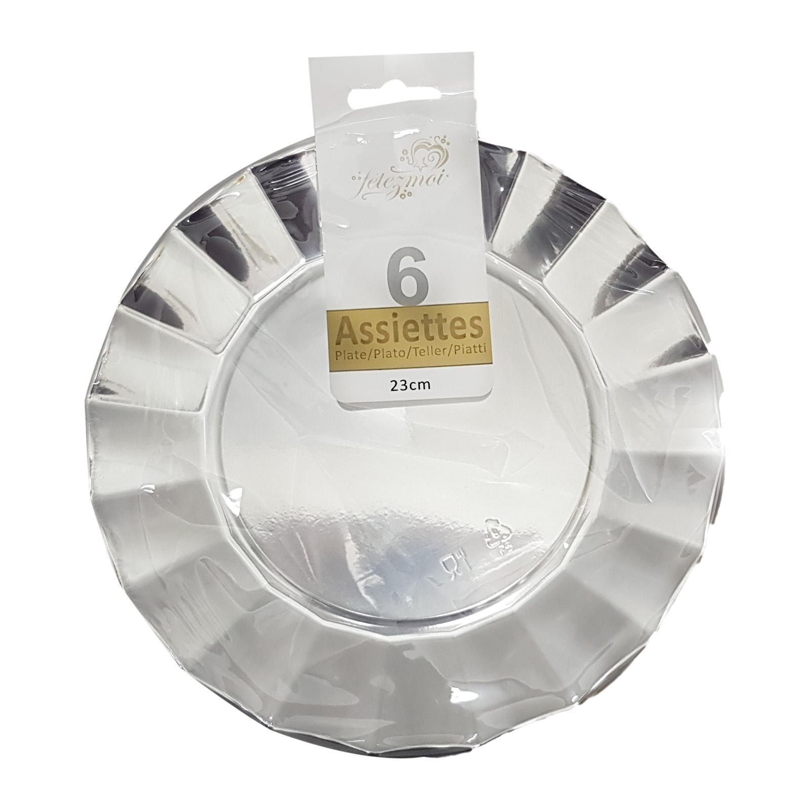 CGS 23cm Silver Round Plastic Plates (6 PCS)