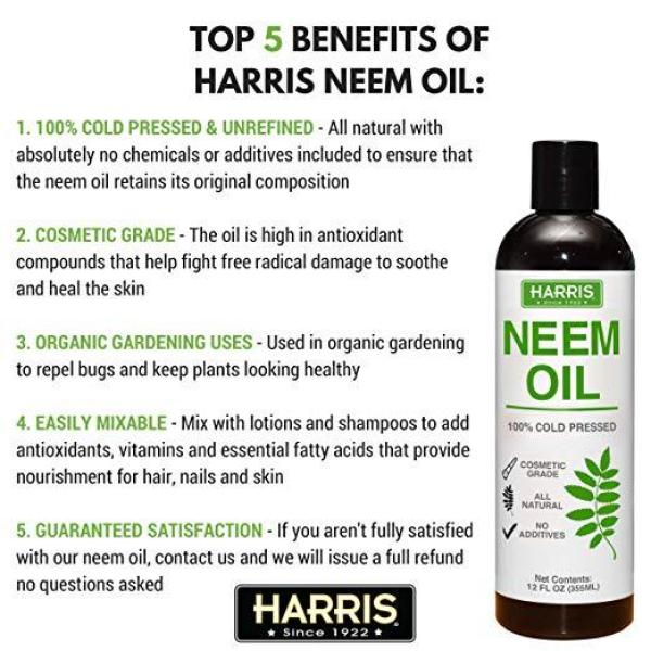 Buy Harris Neem Oil, 100% Cold Pressed and Unrefined for Plants, Skin & Hair, 12oz(355mL) Cosmetic Grade. Singapore