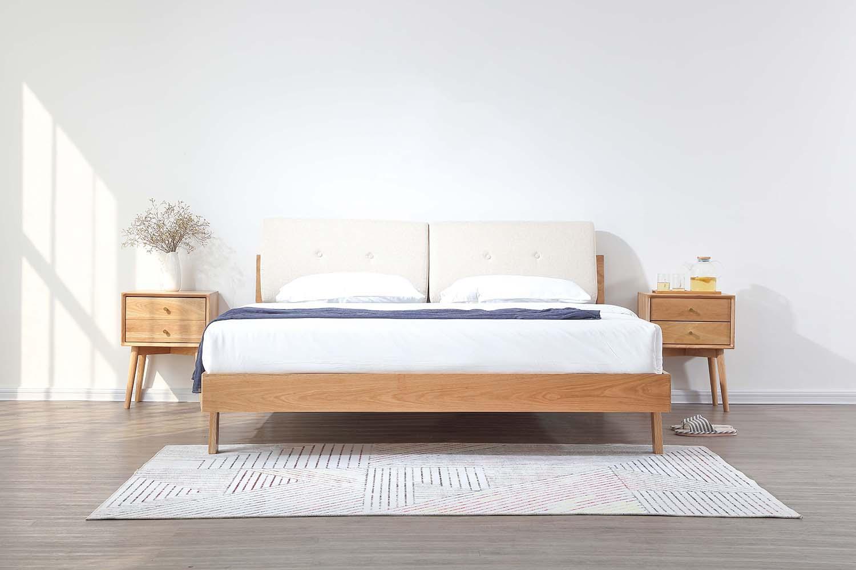 Nara American Oak Wood Bed Frame with Cushions (Beige)