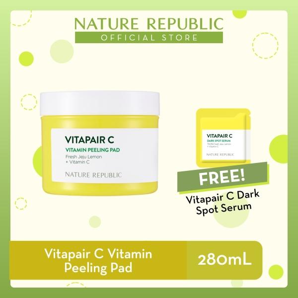 Buy Nature Republic Vitapair C Vitamin Peeling Pad - Vitamin C for Dull Skin (280 mL) + Vitapair C Dark Spot Serum (1mL) Singapore