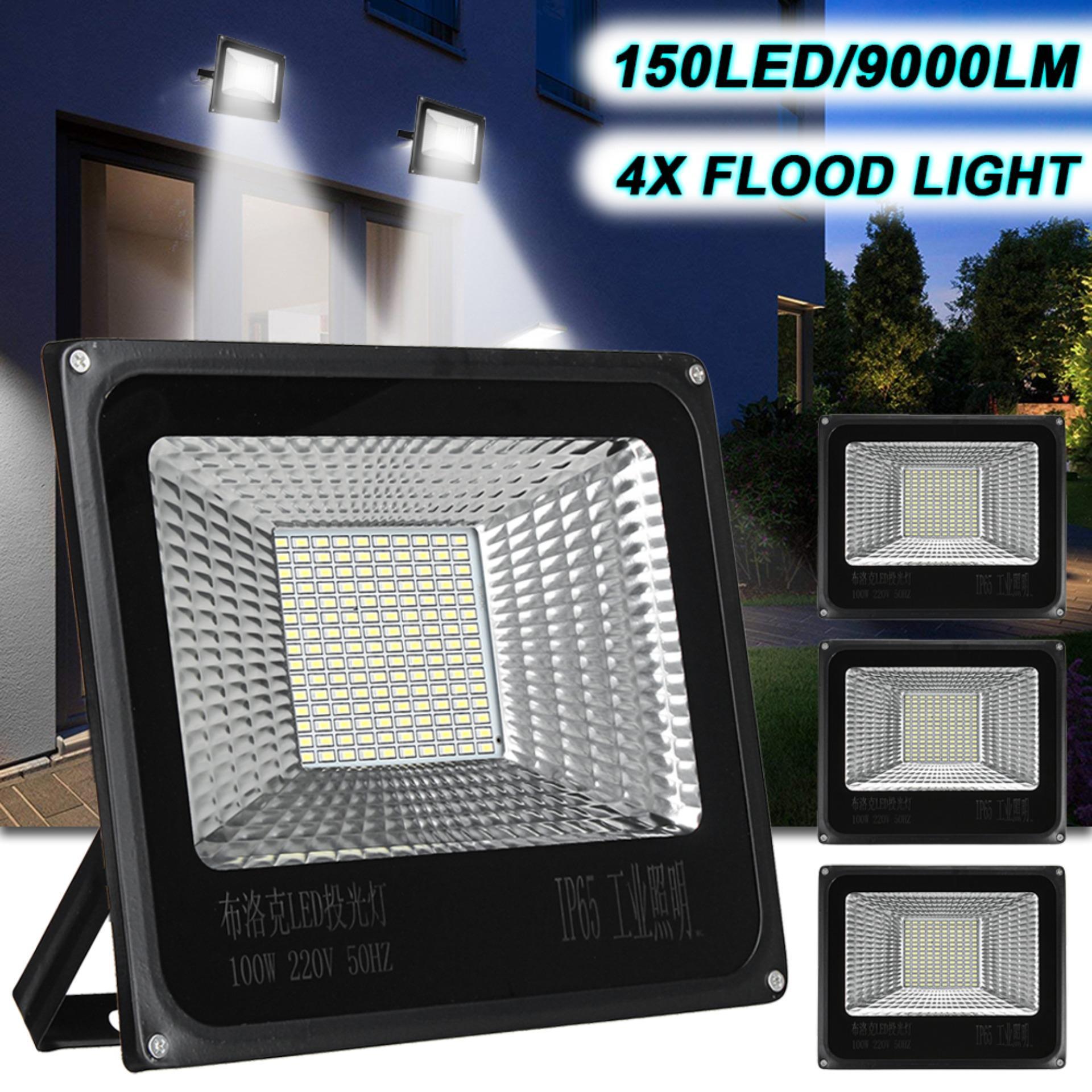 100W 150LED 9000LM Flood Light, IP65 Waterproof Outdoor Super Bright Security Lights Floodlight Landscape Wall Lights