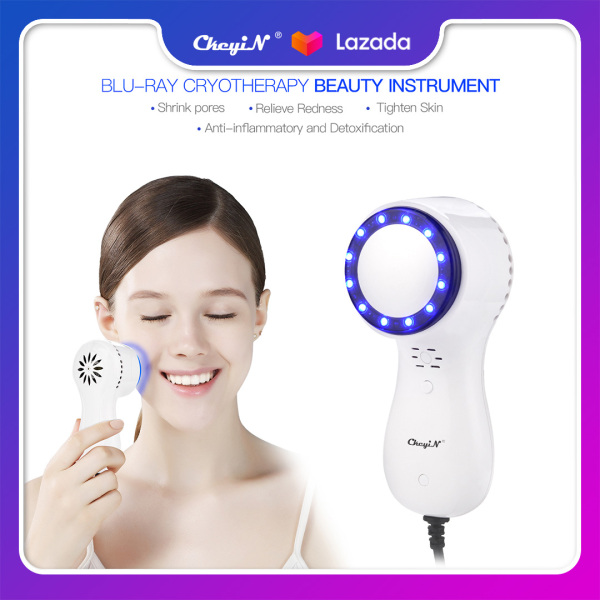 Buy CkeyiN Skin Care Blue-ray 5℃ Cold Hammer Beauty Instrument Cryotherapy Facial Skin Calming Tightening Pores Shrinking Massager (White) MR297W Singapore