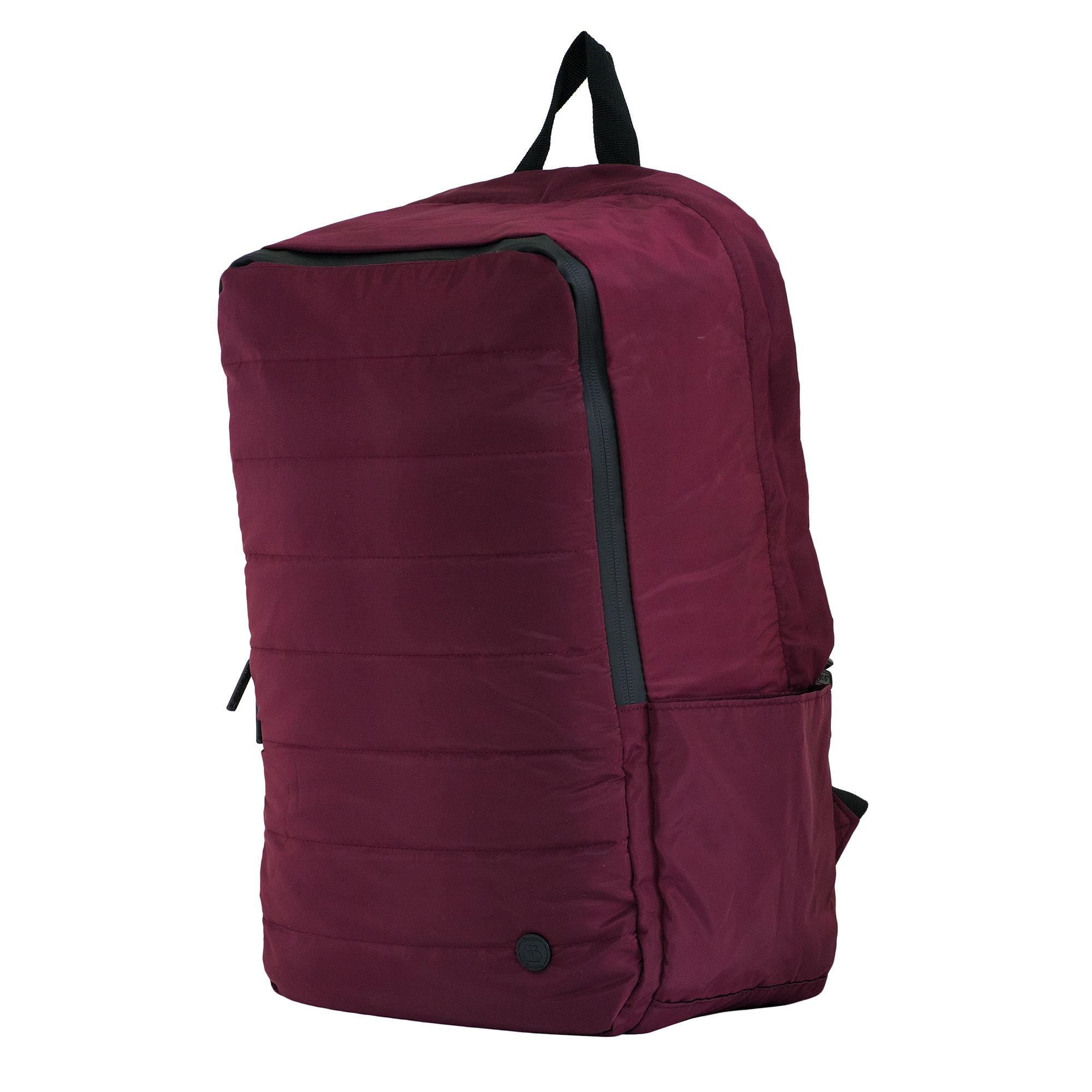 BBAGGIES Secure Quilted Foldable Backpack - Burgundy