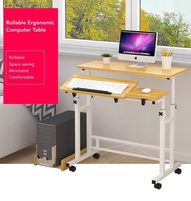 Rollable Ergonomic Computer Table - Light Wood