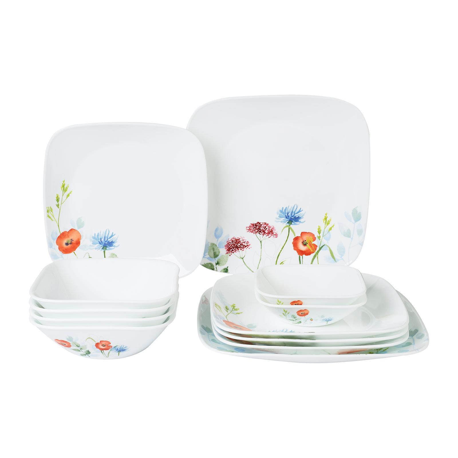 Corelle 12 PCS Square Round Dinner Set (Design: Daisy Field)