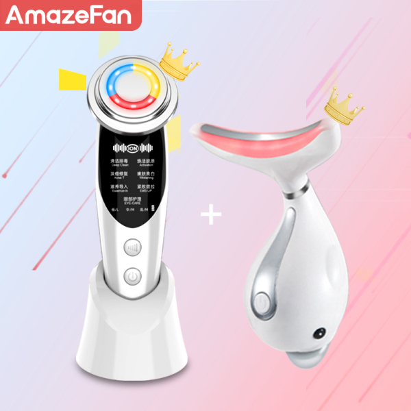 Buy AmazeFan Set of 2 7in1RF&EMS lifting Beauty LED Photon Face Skin +3 Colors Led Facial Neck Massager Photon Therapy Heating Wrinkle Removal Singapore