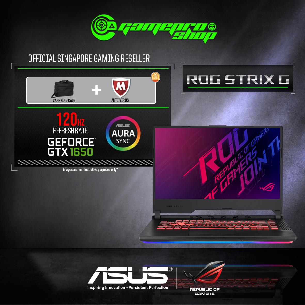 9th Gen ASUS ROG Strix G G531GT GTX1650 (I7-9750H / 16GB DDR4 / 512GB SSD / W10) 15.6 FHD with 120HZ GAMING LAPTOP *COMEX PROMO*