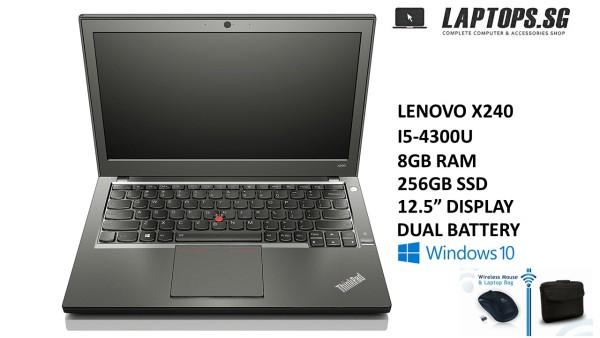 LENOVO THINKPAD X240  INTEL CORE i5-4300U 4TH GEN  8GB RAM  256GB SSD  WINDOWS 10PRO  12.5 DISPLAY  GRADE A CONDITION  FREE BAG & MOUSE  3-MONTHS WARRANTY