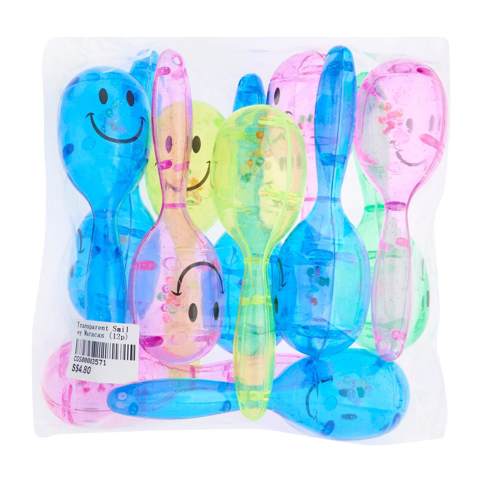 CGS Transparent Smiley Maracas (Assorted) (12Pcs) - Party Favor