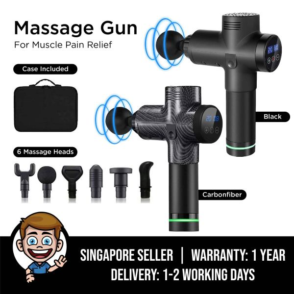 Buy Muscle Massage Gun, Hand-Held Deep Tissue Muscle Massager, 20 Speeds Percussion Muscle Massage Gun, Ultra-Quiet, LCD Display with 6 Massage Heads for Muscle Pain Relief Singapore