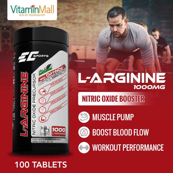 Buy [VitaminMall] EC Sports L Arginine 1000mg Nitric Oxide Precursor - 100 Tablets - With Clinically Tested OPTINOs Nitric Oxide Booster - Experience Intense Muscle Pump & Better Recovery Singapore