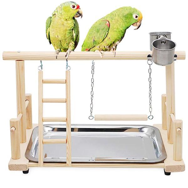 ERRJRYK Conure Lovebirds Hoạt Động Với Cốc Hạt Lung Lay Đồ Chơi Vải Mát Tương Tác Leo Thang Giá Gỗ Đẹp Playstand Chim Cá Rô
