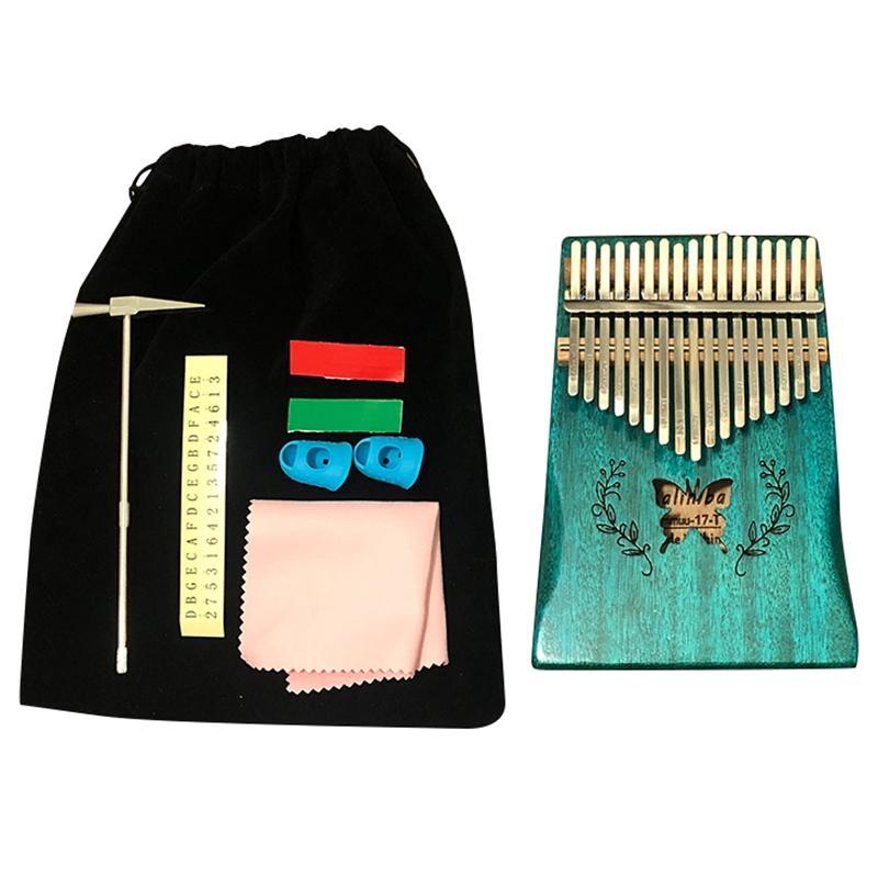 17 Keys Kalimba Pattern Thumb Piano Mahogany Body Musical Instrument 17 Keys Kalimba Childrens and GirlsStyles